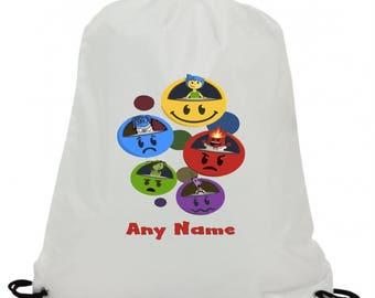 Personalised inside flying emojis swimming pe gym school drawstring bag