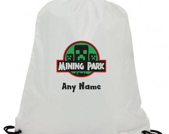 Personalised mine cart mining park swimming pe gym school drawstring bag