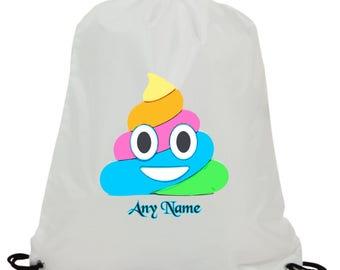 Personalised Rainbow emoji poop sublimation swimming pe gym school drawstring bag