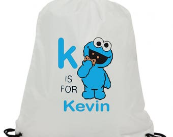 Personalised  cookie monster sublimation swimming pe gym school drawstring bag