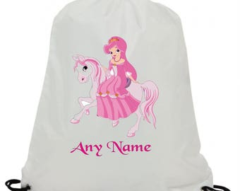 Personalised  princess out horse riding sublimation swimming pe gym school drawstring bag