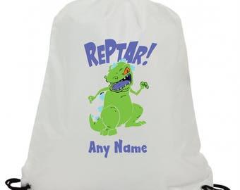 Personalised reptar dinosaur t rex cartoon  swimming pe gym school drawstring bag