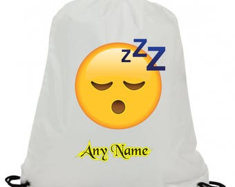 Personalised sleeping emoji sublimation swimming pe gym school drawstring bag