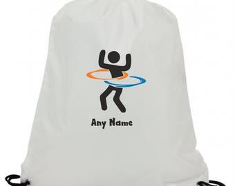 Personalised hula hoop retro swimming pe gym school drawstring bag