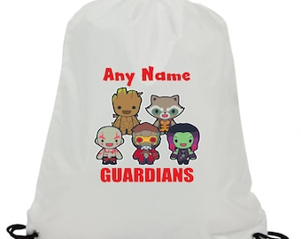 Personalised guardians groot rocket swimming pe gym school drawstring bag