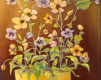 Pansies in Yellow Bowl, flowers, floral, modern, contemporary, green,purple,print,giclee,