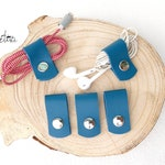 Range blue leather wire, range headphones, cable range, cord clip, original man gift