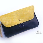 Women's wallet in Navy and gold blue leather, passport, credit card, wallet