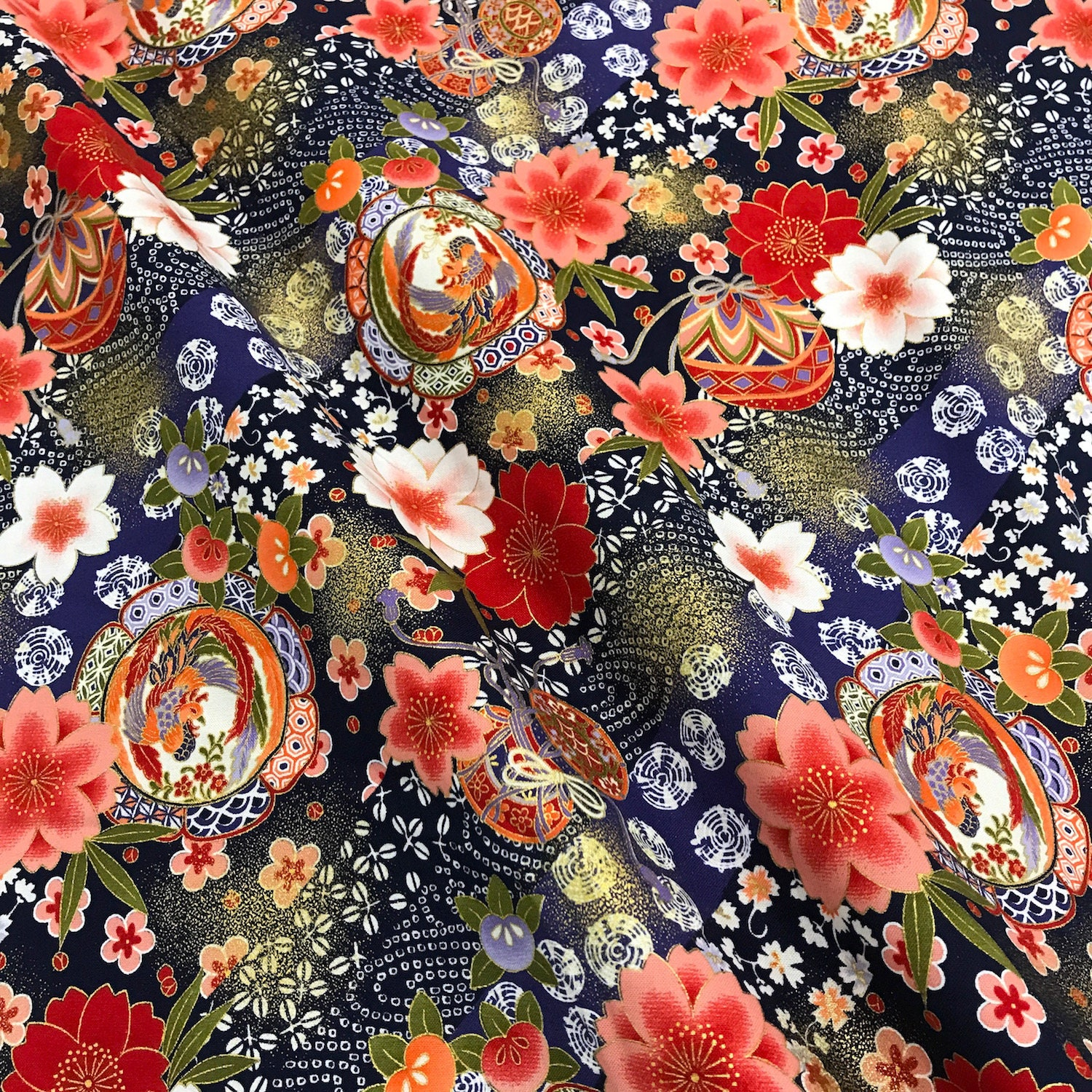 Japanese Fabric Traditional Floral Pattern Navy Blue Etsy
