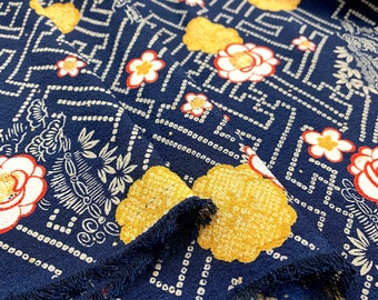 Japanese fabric, traditional pattern, chirimen (crepe) 115x50 (501D)
