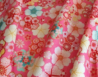 Japanese traditional flowers, pink background, cotton 110 x 50 (008)