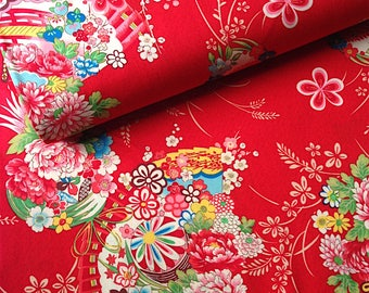 Japanese fabric, flowers, red background 110 x 50 (297)