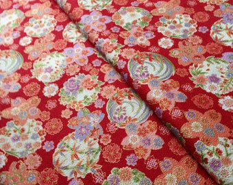 Japanese fabric, flowers, red background 110 x 50 (231)