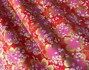 Japanese fabric, traditional pattern cherry blossoms, red background, cotton 110x50 (308C)