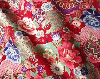 Japanese fabric, flowers, red background 110 x 50 (290C)