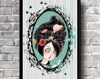 Pin up Pop surrealism Art print Illustration art Colors to choose Childrens room Colorful portrait Bright colors