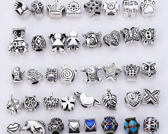 25d6203f8 40pcs/lot Mixed Beads Fit Pandora Charms DIY Charms Spacer Beads & Jewelry  Making