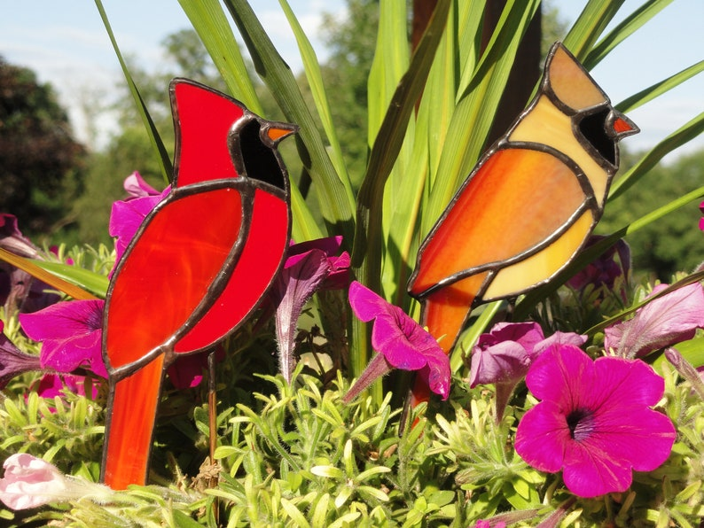 Cardinal Plant Stake Stained Glass