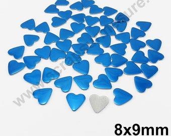 Fusible heart - blue - 8mm - x 50pcs