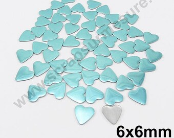 Fusible heart - blue LAGOON - 6mm - x 75pcs
