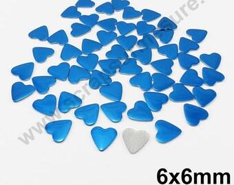Fusible heart - Blue - 6mm - x 75pcs