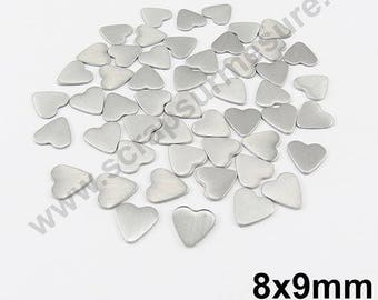 Heart Thermo - matte silver - 8mm - x 50pcs