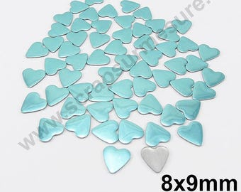 Fusible heart - blue LAGOON - 8mm - x 50pcs