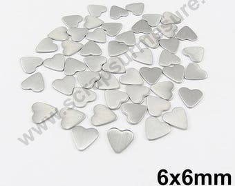 Heart Thermo - matte silver - 6mm - x 75pcs