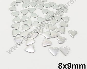 Fusible heart - silver - 8mm - x 50pcs