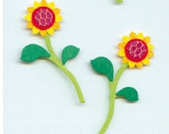 -Sunflower - 4 x 3D embossed stickers