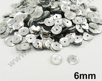 Sequin curved sequin - silver - 6mm - x 400pcs