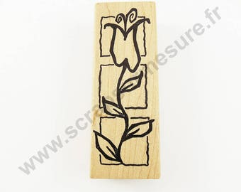 X 1 PCs - Tulip - wooden rubber stamp