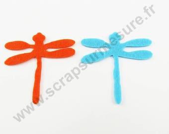 Felt - Dragonfly TURQUOISE ORANGE - x 8 pcs