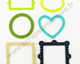Felt - Frame - turquoise Navy Apple green beige - x 6 pcs