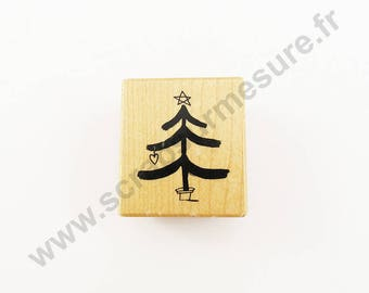 X 1 PCs - tree - wooden rubber stamp