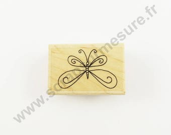 X 1 PCs - Butterfly ARABESQUE - wooden rubber stamp