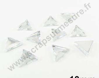 Rhinestone paste triangle - diamond - 10mm - x 10pcs