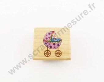 X 1 PCs - STROLLER - wooden rubber stamp