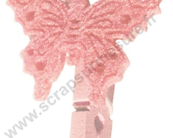 Butterfly - felt ROSE - 25mm - x4pces wooden clothespin
