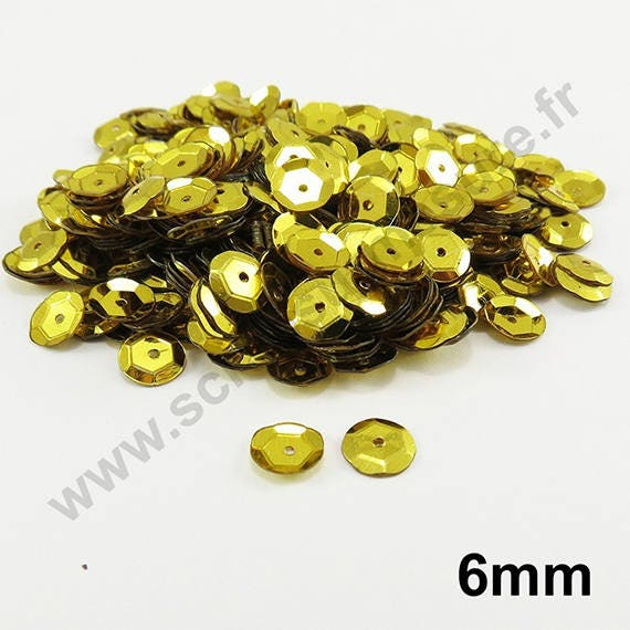 Sequin paillette cup bombé JAUNE NACRE customisation vêtement 6mm