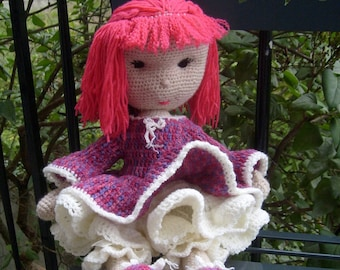 crocheted multicolored wool doll
