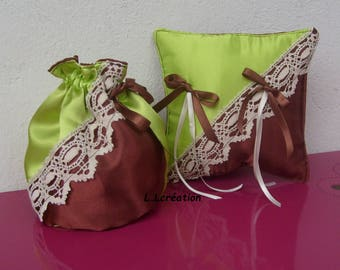 pouch and set in green and Brown satin ring pillow