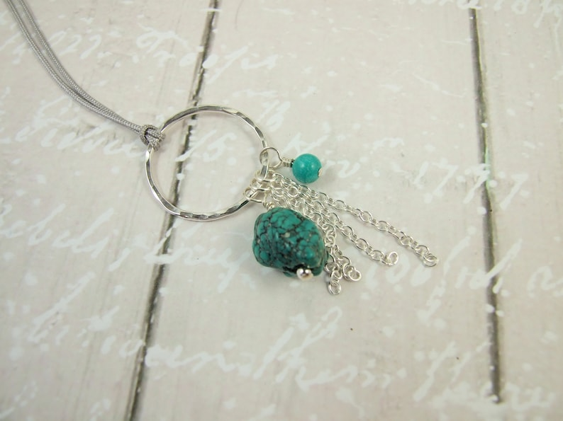 Long Silver and Turquoise Necklace Hand Forged Sterling Silver Hoop with Turquoise /& Silver Droppers Adjustable Length BoHo Tassel Necklace