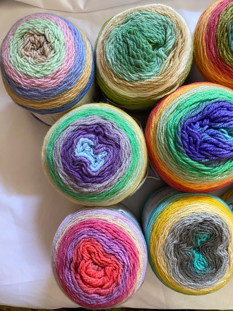More in Mar 5 Newly discontinued Lion Brand Cupcake Yarn self striping #3 DK Light Worsted snap them up while you can fast /& low ship!
