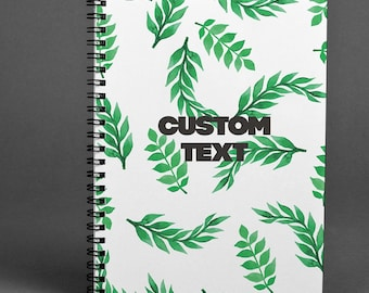 Personalized Writing journal Leaves Notebook Tropical Dairy Scretchbook A5 Notebook Palms Notepad Green Notebook Floral Notebook Spiral Note