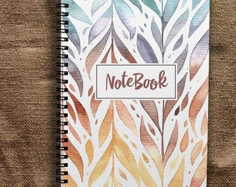 Leaves Writing Journal Cute Notebook A5 Gift Notepad A4 Notebook Floral Notebook Planner Notepad Spiral Notebook A4 Planner Skretchbook Cute