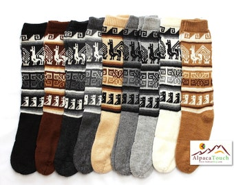 SALE 10% OFF* Bolivian Peruvian Alpaca Yarn Long Socks Light and Warm in Natural Colors with Ethnic Andean Designs
