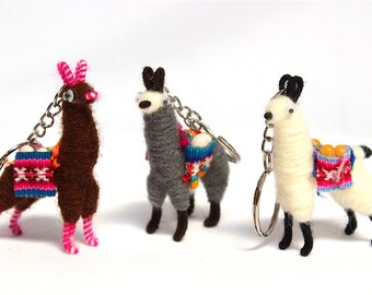 SALE 15% OFF* Llama Alpaca Keychain Andean Collectible Handcrafted Miniature Figurine with Peruvian Fabric & grains
