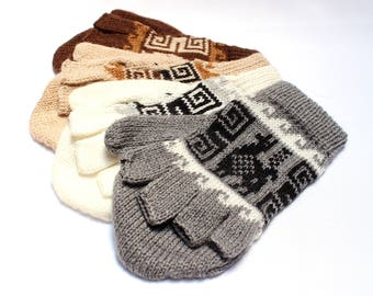 SALE 15% OFF* Alpaca wool Gloves, Convertible Mittens, Fingerless Gloves, Light and Warm in Natural Colors with Andean Designs
