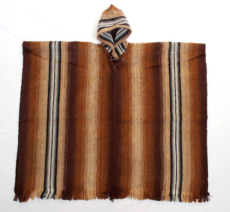 SALE 20/% OFF* Men/'s Alpaca Llama Wool Hooded Poncho Light and Warm in Natural Colors with Ethnic Andean Designs